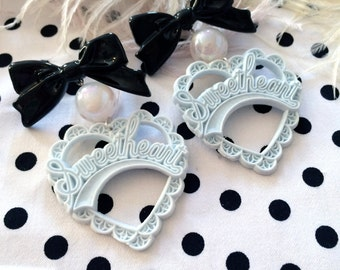 Pale Blue, White and Black Sweetheart Earrings
