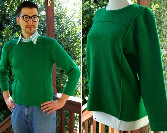 IVY League 1940's 50's Men's Green Vintage Thick Wool Football Jersey Sweater // by HOLT RENFREW // Made in France