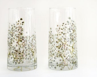 Glass Tumblers, Set of 2 | Baby's Breath Collection