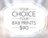 Art Print Sets On Sale 4 8x8 Prints, Modern Wall Decor