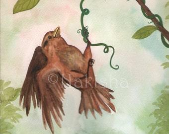 Original Art - The Hanged Bird - Watercolor Bird Painting -The Badgers Forest Tarot