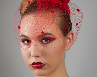 Sexy Red Hat with Veiling