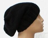 Black slouchy hat, men's hat, women's hat, knit hat, chemo cap, slouchy beanie, winter hat, black hat, toque, ski snowboard hat, biker