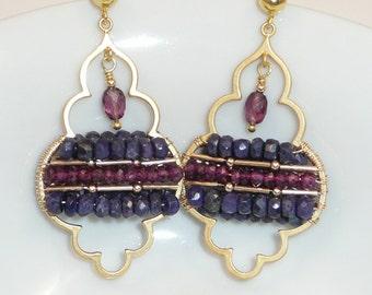 Taj Mahal - blue sapphire and rhodolite garnet gold chandelier earrings