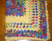 "Crochet Lap Throw/Baby Blanket, Indian Summer Colorworks,  Approx. 46"" Square"