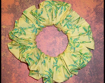 Tropical Coconut Palms Hair Scrunchie, Hair Tie, Yellow