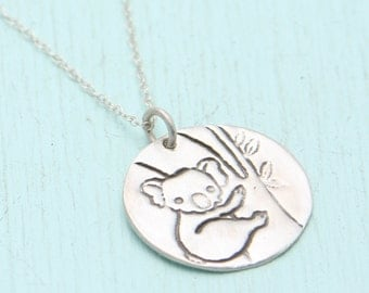 KOALA necklace, eco-friendly silver, artwork by boygirlparty, handcrafted by Chocolate and Steel