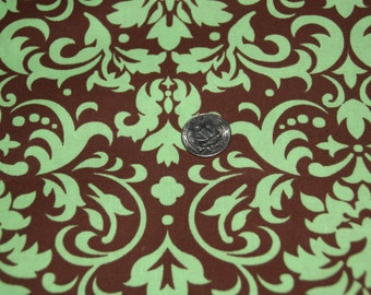 Brown and Green Damask Fabric - One Yard - Marshall Dry Goods