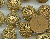 Raw Brass Filigree 16 mm Beads Lot of (6) pieces jc filhw16br MORE AVAILABLE