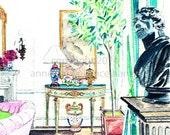 ROSIE'S ROOM Original watercolor painting