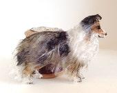 Shetland Sheepdog Blue Merle Sheltie fine mohair brooch pin