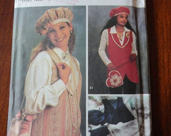 Simplicity 8700 Berets and Handbags Sewing Pattern with matching Vest, Hats size 14 16 18 20 UNCUT