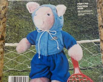 Vintage 80s McCalls 843 Pinky Pig Stuffed Plush Pig Toy with Clothes Sewing Pattern UNCUT