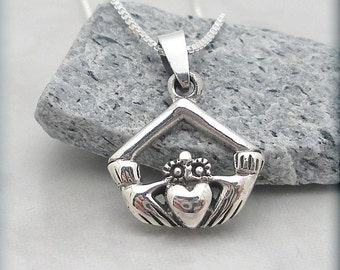 Claddagh Necklace, Friendship Jewelry, Graduation Gift,  Sterling Silver, Irish Jewelry, Claddaugh, Love, Friendship, Loyalty (SN656)