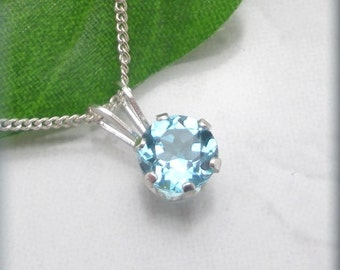 Swiss Blue Topaz Necklace Sterling Silver Gemstone Jewelry December Birthstone (SN796)