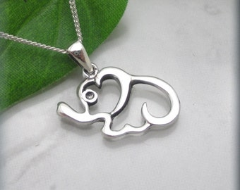 Elephant Necklace Sterling Silver Elephant Jewelry Good Luck (SN856)