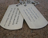 Hand Stamped Jewelry • Personalized Jewelry • Sterling Silver Necklace • Military Dogtags