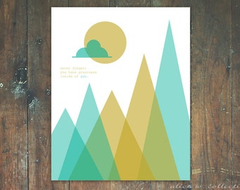 You Have Greatness Inside of You, Modern Geometric Mountain Scene Inspirational Wall Art, Instant Download
