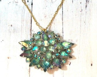 Vintage Iridescent Blue Rhinestone Repurposed Brooch Necklace Long Statement