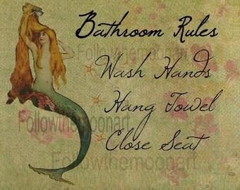 Sage Vintage Mermaid Bathroom Rules Decor Quality Art Print