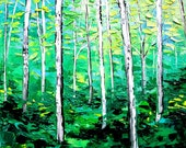 Oil painting abstract landscape original spring birch forest by Aja Prima 24x24 inches
