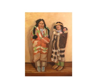 Vintage Skookum Indian Dolls, Original Oil Painting