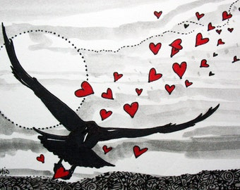 TRAIL of HEARtS crows ravens hearts Valentines 4x6 giclee print LE