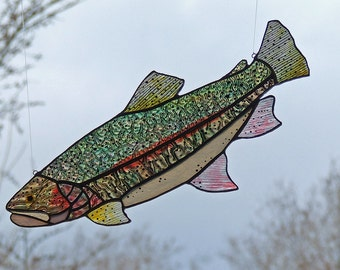 """Stained Glass Trout, Large 14"""" Rainbow Trout Sun Catcher, Unique Gift, Fishing, Home Decor"""