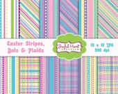 Easter Stripes Dots & Plaid Digital Paper Pack Background for Scrapbooking 12x12 300dpi pastel colors pink blue lavender yellow