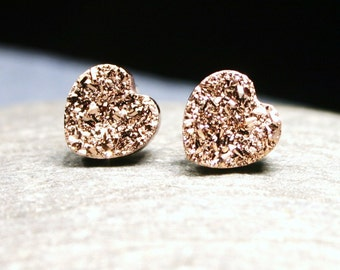 Rose Gold Druzy Heart Stud Earrings Metallic Love Genuine Titanium Drusy Pink Quartz Gemstone Jewelry for Women on Sterling Silver Post Stud