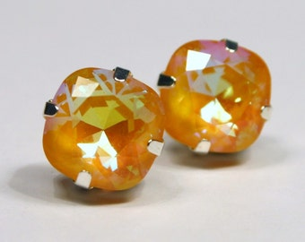 Bright Yellow Crystal Stud Earrings Classic Sparkling Golden Saffron Sunshine Butter Solitaire Swarovski 12mm Sterling Silver Post & Copper