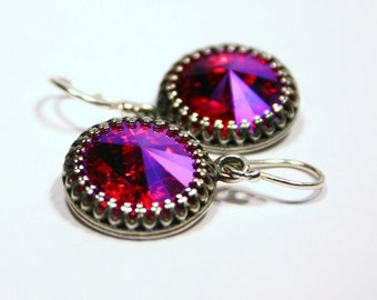 Hot Pink Crystal Earrings Swarovski Antiqued Silver Crown Circlet Fuchsia Valentine Jewelry Vampire Princess Queen Romantic Victorian Charm