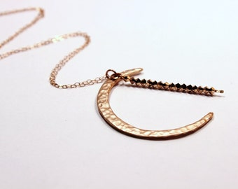 Rose Gold Crescent Moon Necklace Rare Swarovski Crystal Sparkle Starry Night Celestial Magick 14K Filled Delicate Chain Hammered Brass Charm