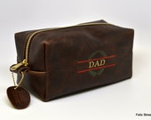 Personalized Gift for Dad Handmade Leather Dopp Kit