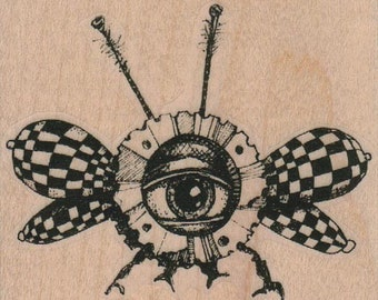 Flying Eye Insect  Steampunk  Stamp whimsical  Rubber Stamp by Mary Vogel Lozinak  19356