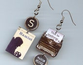 Book cover Earrings - Hamlet Shakespeare quote - typewriter jewelry - actors readers student playwrights  book lovers gift - asymmetrical