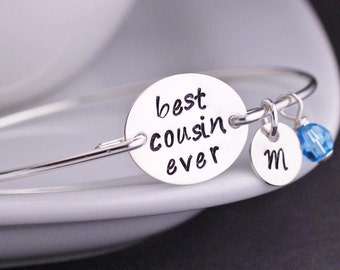 Personalized Cousin Gift, Sterling Silver Cousin Bangle, Best Cousin Ever Jewelry