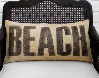 Beach  - Burlap  Pillow - Beach Pillow - Beach Decor - Beach Cottage  - Lumbar Style