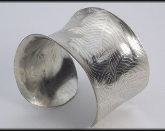 FERN LEAVES - Handforged Embossed Shiny Pewter Fern Leaves Cuff