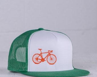 OOPS! Vital Bicycle - trucker cap, orange on green 0186