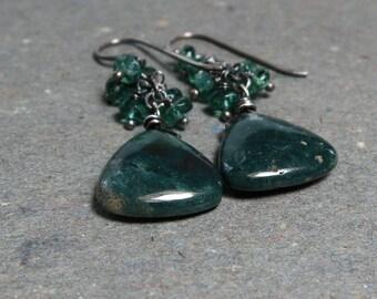 Jasper Earrings Teal Earrings Apatite Earrings Geometric Jewelry Triangle Earrings Sterling Silver Oxidized Earrings Gift for Her