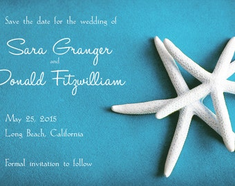 25 postcards per set-  wedding save the date postcards- white starfish