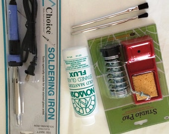 Solder Tool Combo has Choice 100 watt Soldering IRON, Heavy Stand, Old Master Flux and 2 flux brushes