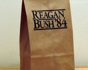 5 - Reagan Bush 84 Lunch Bags (paper bags,republican gift,1980s party supply,food storage,lunch container,political humor,conservative gift)