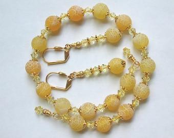 Yellow Agate Bracelet and Earring Set  Memory Wire Bracelet