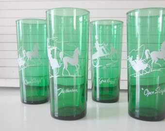 Anchor Hocking Green Tumblers Christmas, Forest Green, Gay Nineties Roly Poly