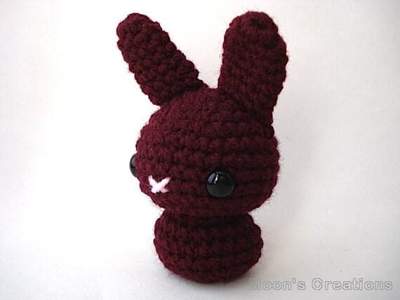 Merlot Red Moon Bun Amigurumi Bunny Rabbit Doll with