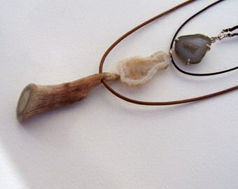 Three-in-one necklace... deer antler, tabasco geode,  silver bead brown wax linen, woven nylon and leather cord.