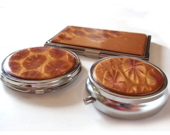 Purse accessories: compact mirror, business card case wallet, pill box; your choice - any or all; gold handcrafted polymer veneer decoration