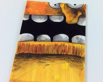 Yellow Monster Original ACEO Drawing by Aaron Butcher